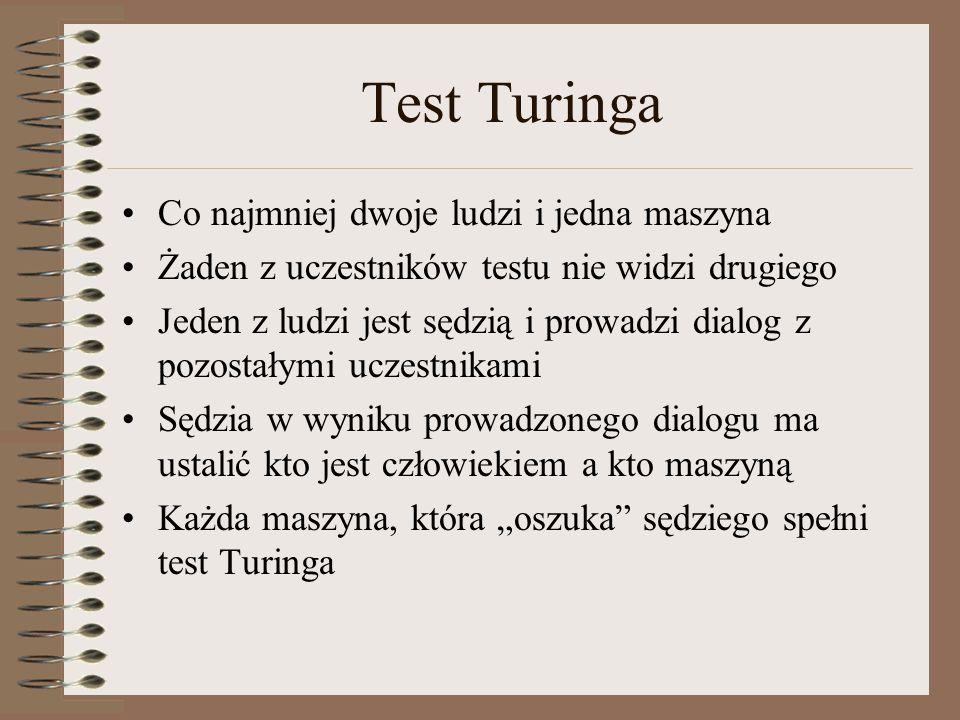 Test Turinga Co najmniej dwoje ludzi i jedna maszyna Żaden z uczestników testu nie widzi drugiego Jeden z ludzi jest sędzią i prowadzi dialog z pozost