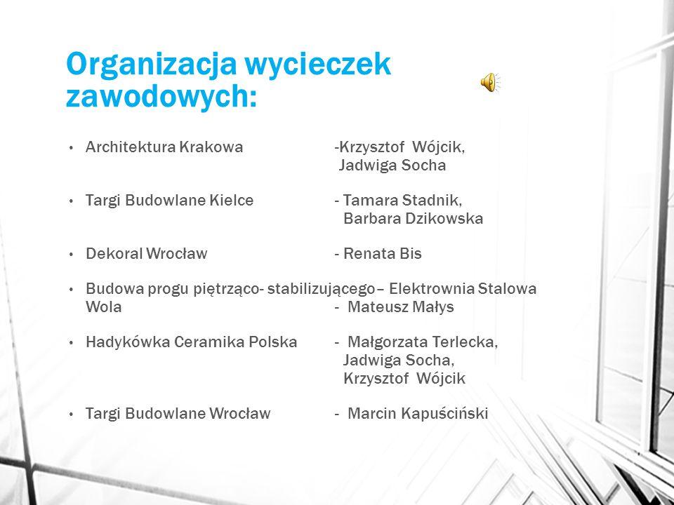 Organizacja wycieczek zawodowych: Architektura Krakowa -Krzysztof Wójcik, Jadwiga Socha Targi Budowlane Kielce - Tamara Stadnik, Barbara Dzikowska Dek