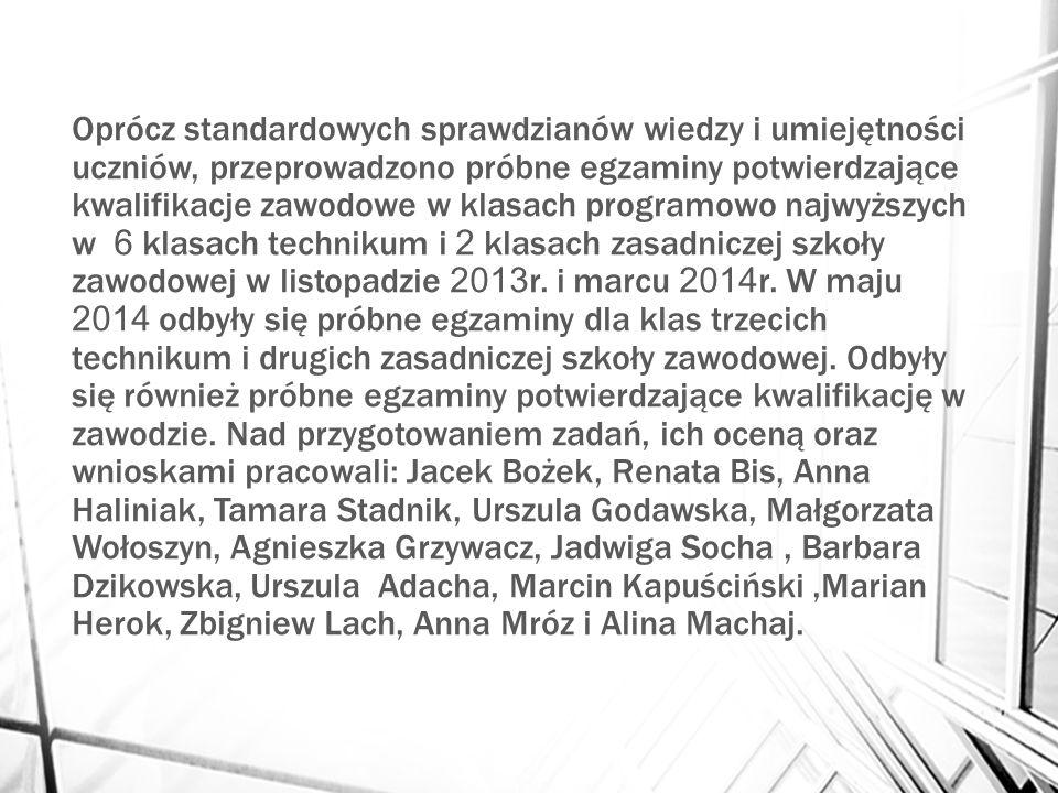 Oprócz standardowych sprawdzianów wiedzy i umiejętności uczniów, przeprowadzono próbne egzaminy potwierdzające kwalifikacje zawodowe w klasach programowo najwyższych w 6 klasach technikum i 2 klasach zasadniczej szkoły zawodowej w listopadzie 2013 r.