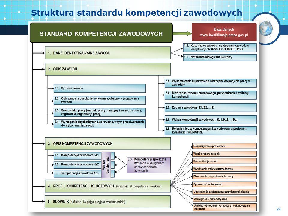 Struktura standardu kompetencji zawodowych 24