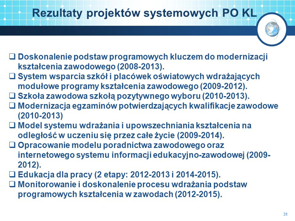 Rezultaty projektów systemowych PO KL 31  Doskonalenie podstaw programowych kluczem do modernizacji kształcenia zawodowego (2008-2013).  System wspa