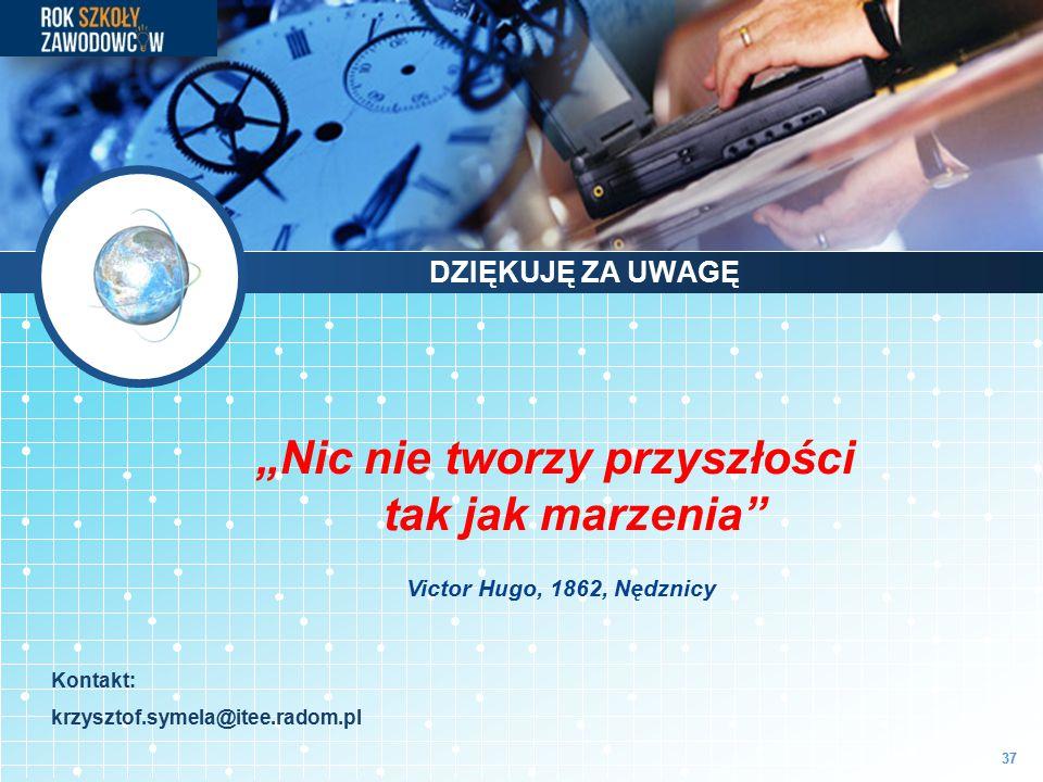 """37 """"Nic nie tworzy przyszłości tak jak marzenia"""" Victor Hugo, 1862, Nędznicy Kontakt: krzysztof.symela@itee.radom.pl DZIĘKUJĘ ZA UWAGĘ"""