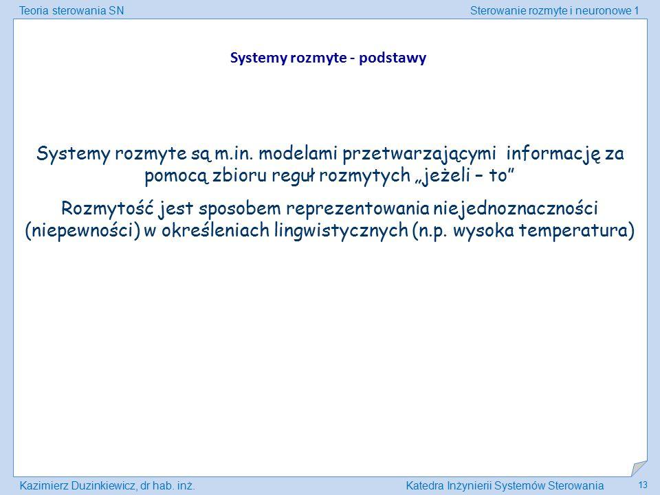 Teoria sterowania SNSterowanie rozmyte i neuronowe 1 Kazimierz Duzinkiewicz, dr hab. inż.Katedra Inżynierii Systemów Sterowania 13 Systemy rozmyte są