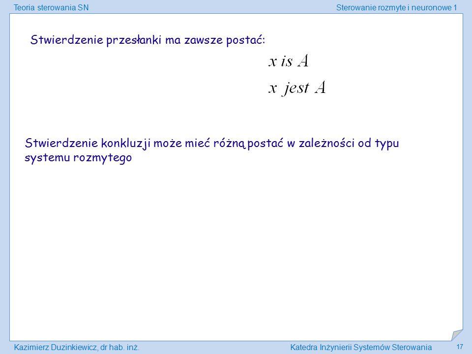 Teoria sterowania SNSterowanie rozmyte i neuronowe 1 Kazimierz Duzinkiewicz, dr hab. inż.Katedra Inżynierii Systemów Sterowania 17 Stwierdzenie przesł
