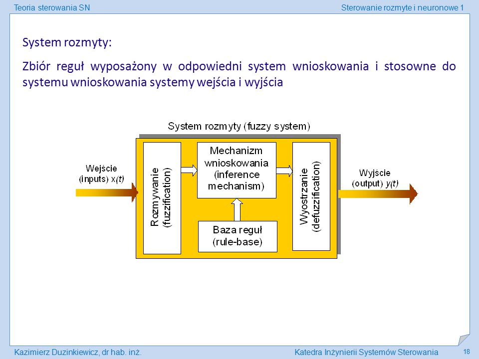 Teoria sterowania SNSterowanie rozmyte i neuronowe 1 Kazimierz Duzinkiewicz, dr hab. inż.Katedra Inżynierii Systemów Sterowania 18 System rozmyty: Zbi