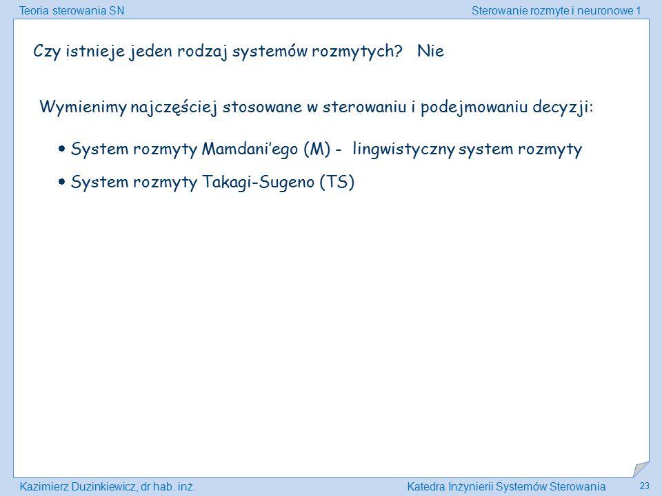 Teoria sterowania SNSterowanie rozmyte i neuronowe 1 Kazimierz Duzinkiewicz, dr hab. inż.Katedra Inżynierii Systemów Sterowania 23 Czy istnieje jeden