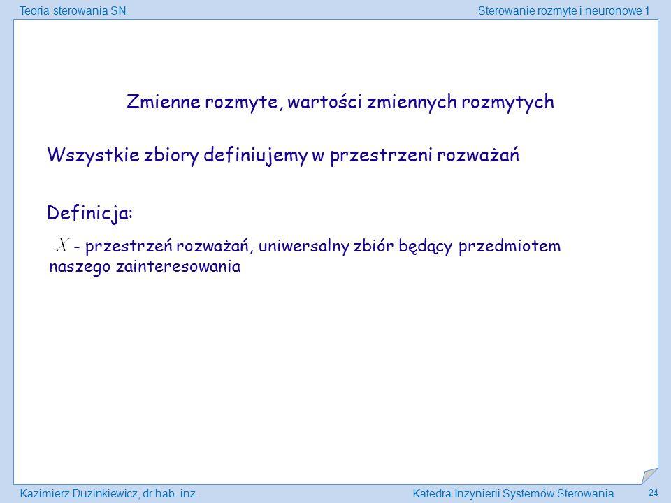 Teoria sterowania SNSterowanie rozmyte i neuronowe 1 Kazimierz Duzinkiewicz, dr hab. inż.Katedra Inżynierii Systemów Sterowania 24 Definicja: - przest