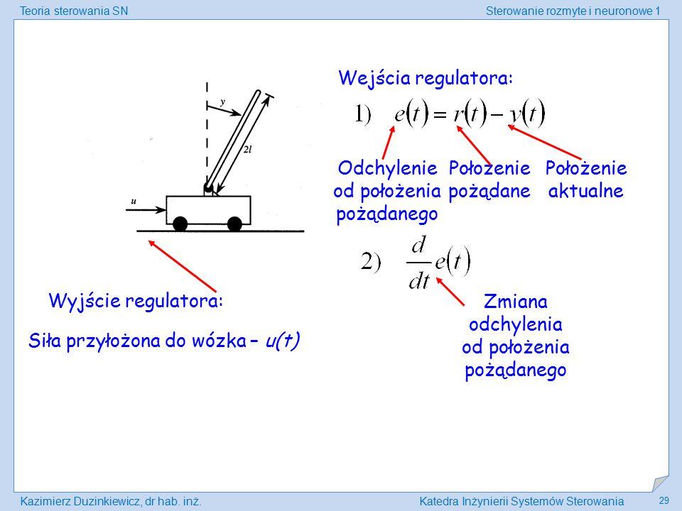 Teoria sterowania SNSterowanie rozmyte i neuronowe 1 Kazimierz Duzinkiewicz, dr hab. inż.Katedra Inżynierii Systemów Sterowania 29 Wejścia regulatora: