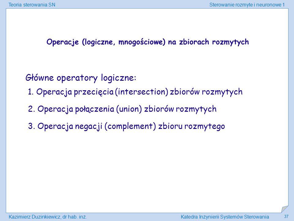 Teoria sterowania SNSterowanie rozmyte i neuronowe 1 Kazimierz Duzinkiewicz, dr hab. inż.Katedra Inżynierii Systemów Sterowania 37 Operacje (logiczne,