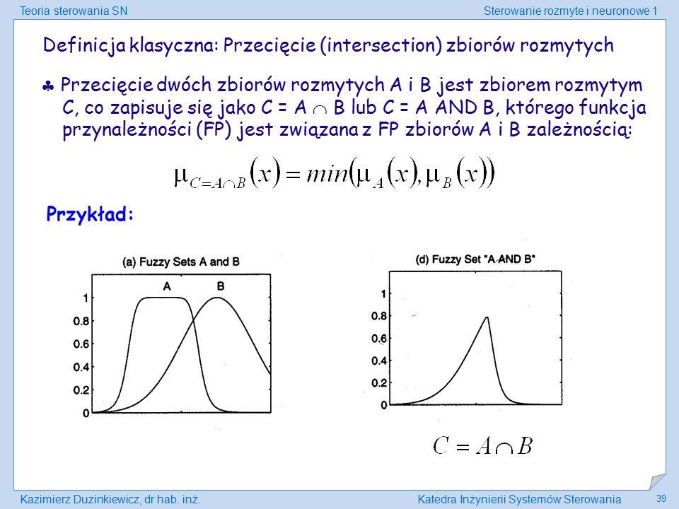 Teoria sterowania SNSterowanie rozmyte i neuronowe 1 Kazimierz Duzinkiewicz, dr hab. inż.Katedra Inżynierii Systemów Sterowania 39 Definicja klasyczna