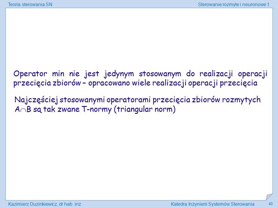 Teoria sterowania SNSterowanie rozmyte i neuronowe 1 Kazimierz Duzinkiewicz, dr hab. inż.Katedra Inżynierii Systemów Sterowania 40 Operator min nie je