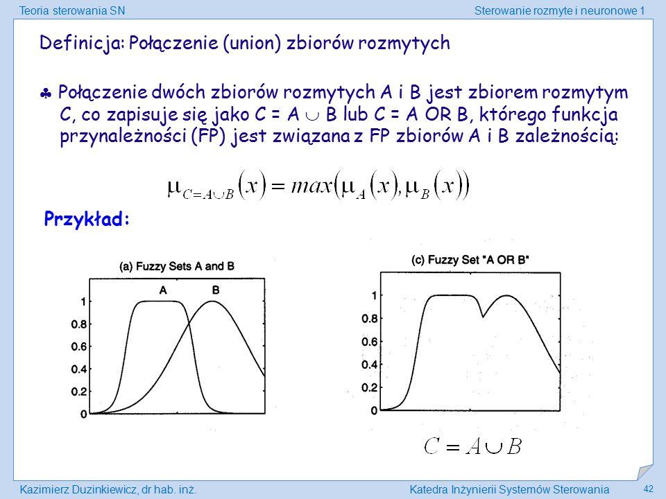 Teoria sterowania SNSterowanie rozmyte i neuronowe 1 Kazimierz Duzinkiewicz, dr hab. inż.Katedra Inżynierii Systemów Sterowania 42 Definicja: Połączen
