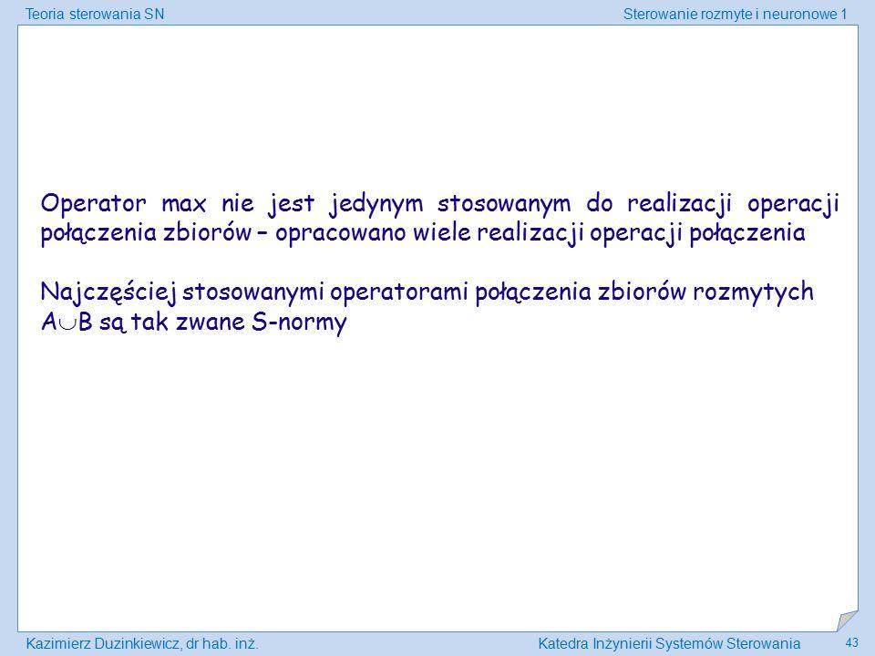 Teoria sterowania SNSterowanie rozmyte i neuronowe 1 Kazimierz Duzinkiewicz, dr hab. inż.Katedra Inżynierii Systemów Sterowania 43 Operator max nie je