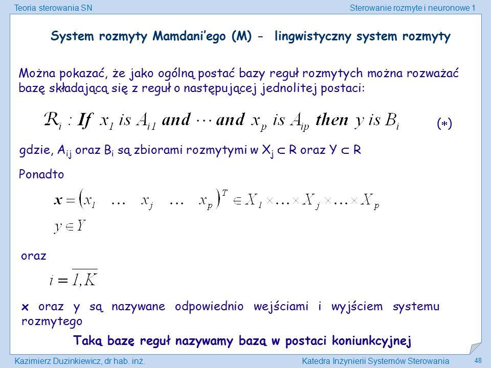 Teoria sterowania SNSterowanie rozmyte i neuronowe 1 Kazimierz Duzinkiewicz, dr hab. inż.Katedra Inżynierii Systemów Sterowania 48 Można pokazać, że j