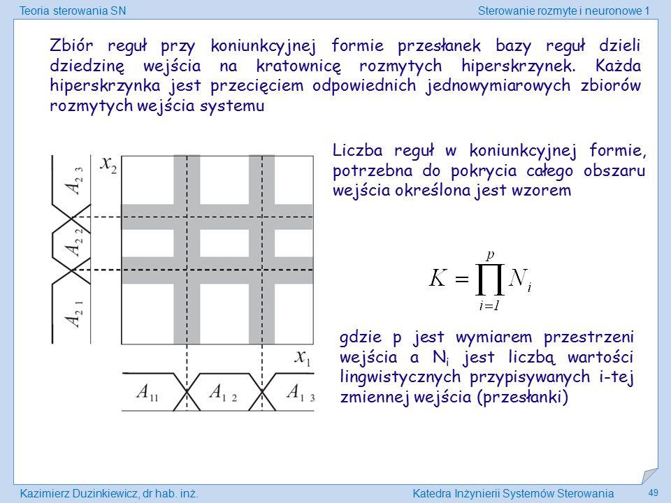 Teoria sterowania SNSterowanie rozmyte i neuronowe 1 Kazimierz Duzinkiewicz, dr hab. inż.Katedra Inżynierii Systemów Sterowania 49 Zbiór reguł przy ko