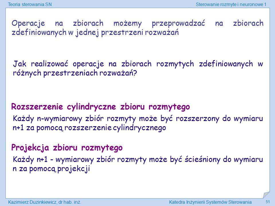 Teoria sterowania SNSterowanie rozmyte i neuronowe 1 Kazimierz Duzinkiewicz, dr hab. inż.Katedra Inżynierii Systemów Sterowania 51 Jak realizować oper