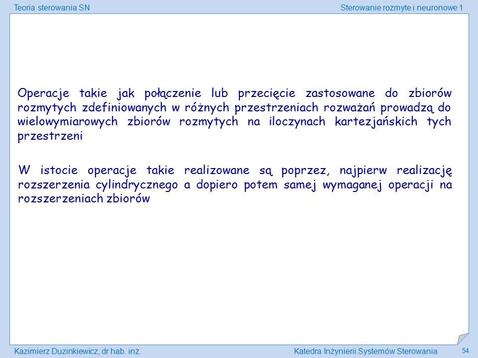 Teoria sterowania SNSterowanie rozmyte i neuronowe 1 Kazimierz Duzinkiewicz, dr hab. inż.Katedra Inżynierii Systemów Sterowania 54 Operacje takie jak