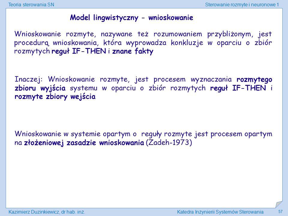 Teoria sterowania SNSterowanie rozmyte i neuronowe 1 Kazimierz Duzinkiewicz, dr hab. inż.Katedra Inżynierii Systemów Sterowania 57 Model lingwistyczny