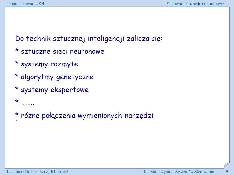 Teoria sterowania SNSterowanie rozmyte i neuronowe 1 Kazimierz Duzinkiewicz, dr hab. inż.Katedra Inżynierii Systemów Sterowania 6 Do technik sztucznej