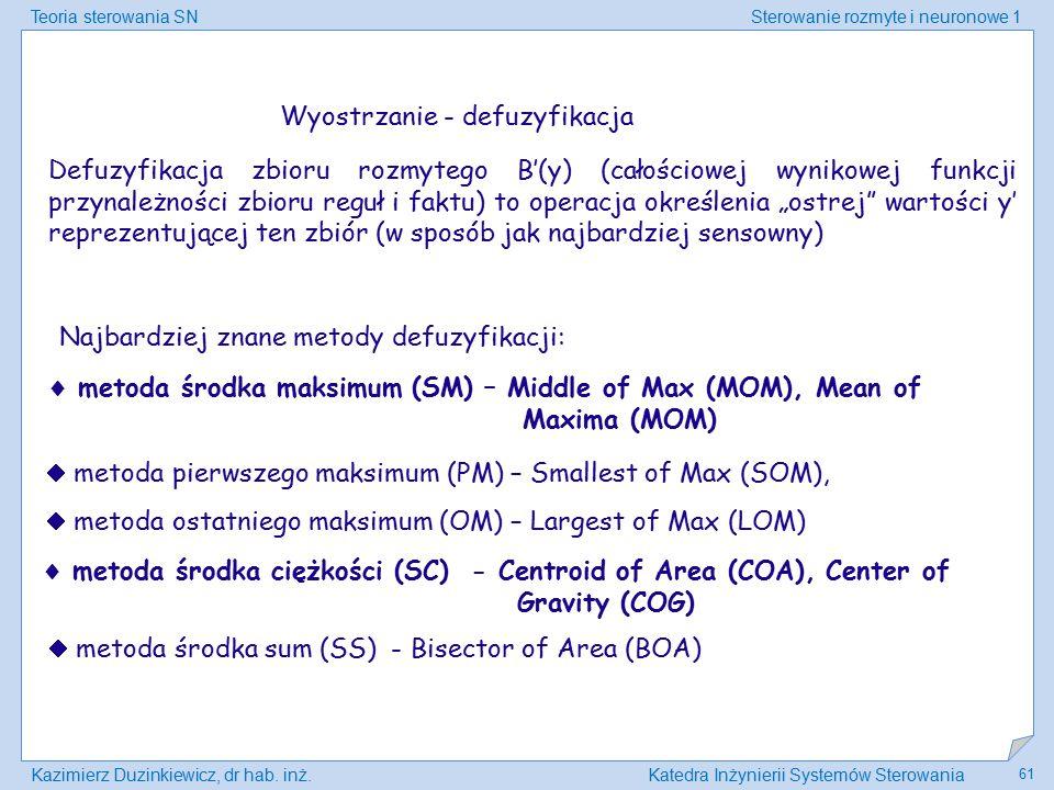 Teoria sterowania SNSterowanie rozmyte i neuronowe 1 Kazimierz Duzinkiewicz, dr hab. inż.Katedra Inżynierii Systemów Sterowania 61 Wyostrzanie - defuz