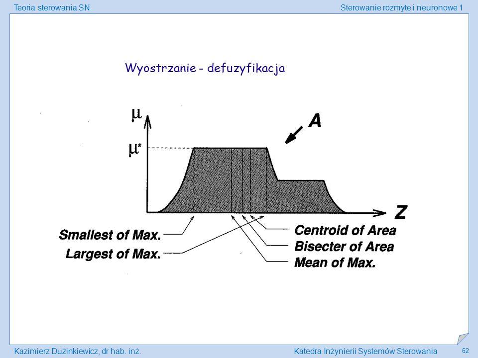 Teoria sterowania SNSterowanie rozmyte i neuronowe 1 Kazimierz Duzinkiewicz, dr hab. inż.Katedra Inżynierii Systemów Sterowania 62 Wyostrzanie - defuz