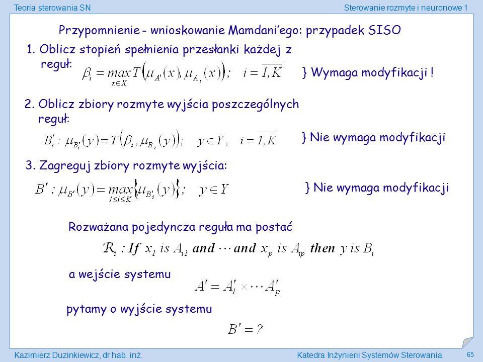 Teoria sterowania SNSterowanie rozmyte i neuronowe 1 Kazimierz Duzinkiewicz, dr hab. inż.Katedra Inżynierii Systemów Sterowania 65 Przypomnienie - wni