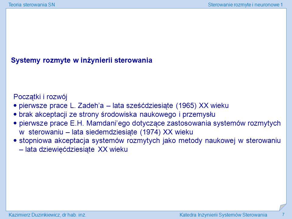 Teoria sterowania SNSterowanie rozmyte i neuronowe 1 Kazimierz Duzinkiewicz, dr hab. inż.Katedra Inżynierii Systemów Sterowania 7 Systemy rozmyte w in