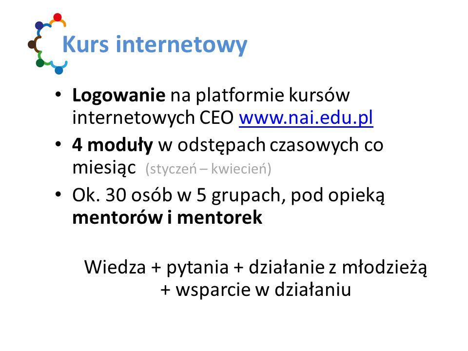 Logowanie na platformie kursów internetowych CEO www.nai.edu.plwww.nai.edu.pl 4 moduły w odstępach czasowych co miesiąc (styczeń – kwiecień) Ok.