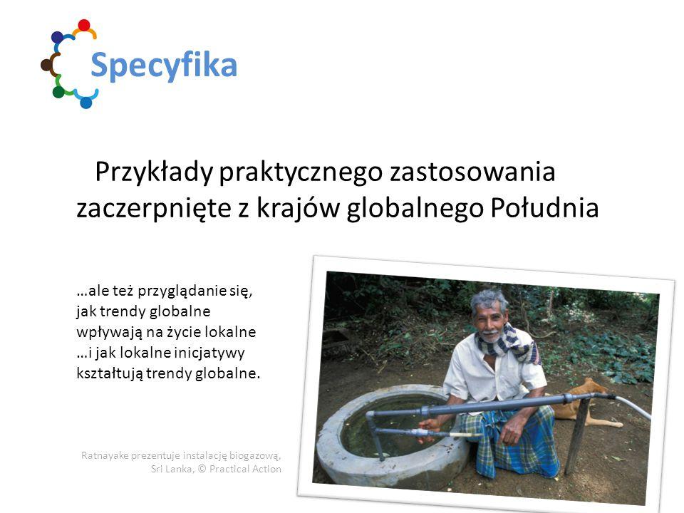 Przykłady praktycznego zastosowania zaczerpnięte z krajów globalnego Południa Specyfika Ratnayake prezentuje instalację biogazową, Sri Lanka, © Practi