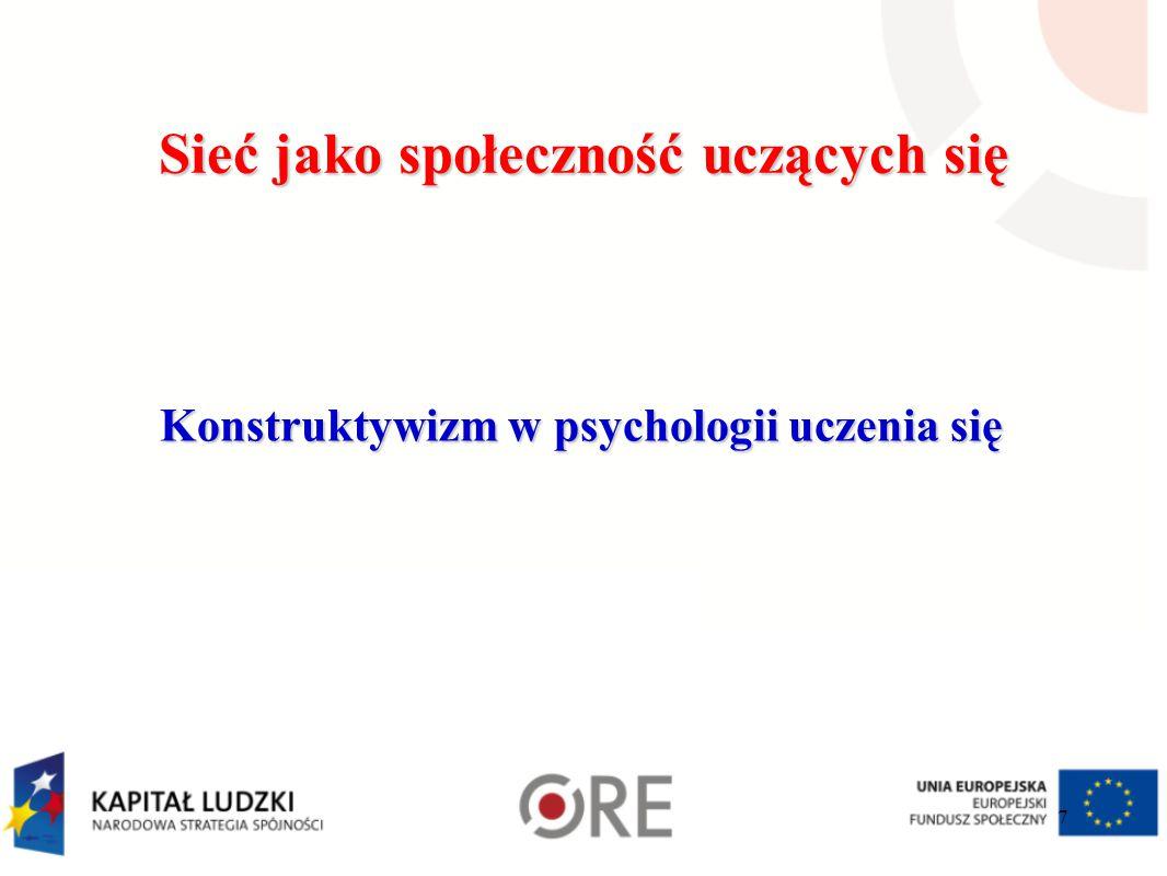 Sieć jako społeczność uczących się Konstruktywizm w psychologii uczenia się 7