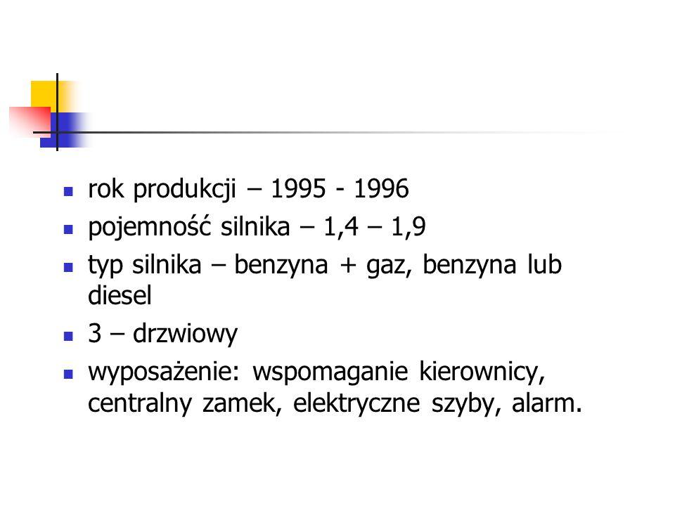 rok produkcji – 1995 - 1996 pojemność silnika – 1,4 – 1,9 typ silnika – benzyna + gaz, benzyna lub diesel 3 – drzwiowy wyposażenie: wspomaganie kierownicy, centralny zamek, elektryczne szyby, alarm.