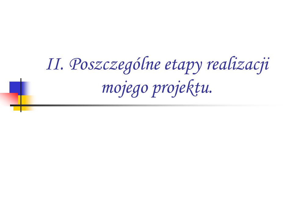 II. Poszczególne etapy realizacji mojego projektu.