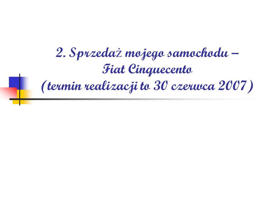 2. Sprzeda ż mojego samochodu – Fiat Cinquecento (termin realizacji to 30 czerwca 2007)