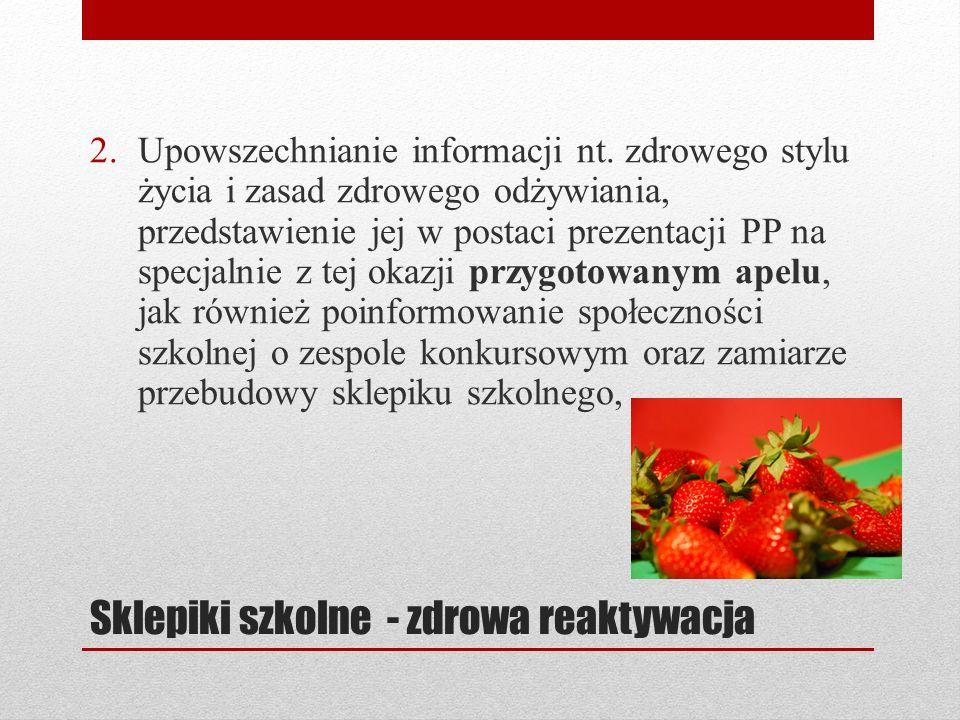 Sklepiki szkolne - zdrowa reaktywacja 2.Upowszechnianie informacji nt.