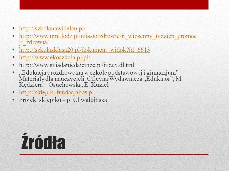 """Źródła http://szkolanawidelcu.pl/ http://www.uml.lodz.pl/miasto/zdrowie/ii_wiosenny_tydzien_promoc ji_zdrowia/ http://www.uml.lodz.pl/miasto/zdrowie/ii_wiosenny_tydzien_promoc ji_zdrowia/ http://szkolazklasa20.pl/dokument_widok?id=6613 http://www.ekoszkola.pl/pl/ http://www.sniadaniedajemoc.pl/index.dhtml """"Edukacja prozdrowotna w szkole podstawowej i gimnazjum Materiały dla nauczycieli; Oficyna Wydawnicza """"Edukator ; M."""