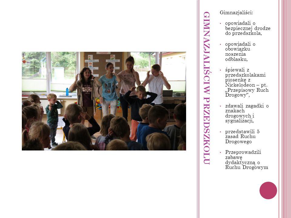 GIMNAZJALIŚCI W PRZEDSZKOLU Gimnazjaliści: opowiadali o bezpiecznej drodze do przedszkola, opowiadali o obowiązku noszenia odblasku, śpiewali z przedszkolakami piosenkę z Nickelodeon – pt.