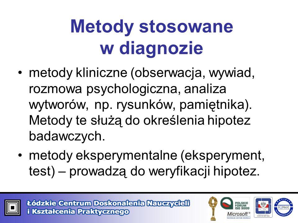 Metody stosowane w diagnozie metody kliniczne (obserwacja, wywiad, rozmowa psychologiczna, analiza wytworów, np. rysunków, pamiętnika). Metody te służ