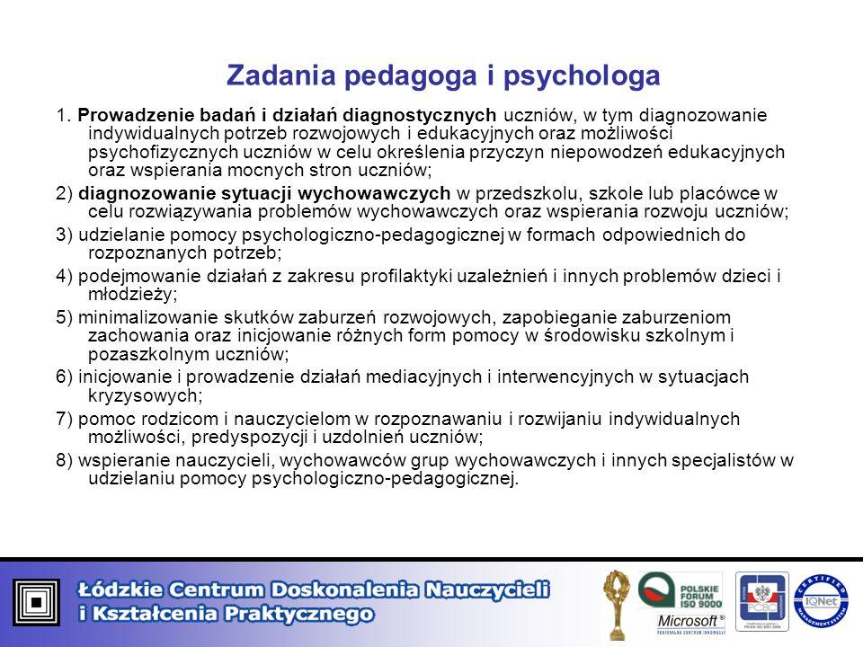 Zadania pedagoga i psychologa 1. Prowadzenie badań i działań diagnostycznych uczniów, w tym diagnozowanie indywidualnych potrzeb rozwojowych i edukacy