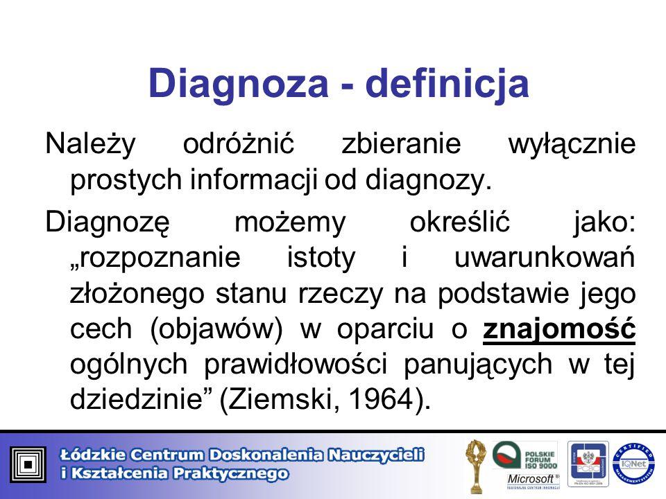 """Diagnoza - definicja Należy odróżnić zbieranie wyłącznie prostych informacji od diagnozy. Diagnozę możemy określić jako: """"rozpoznanie istoty i uwarunk"""