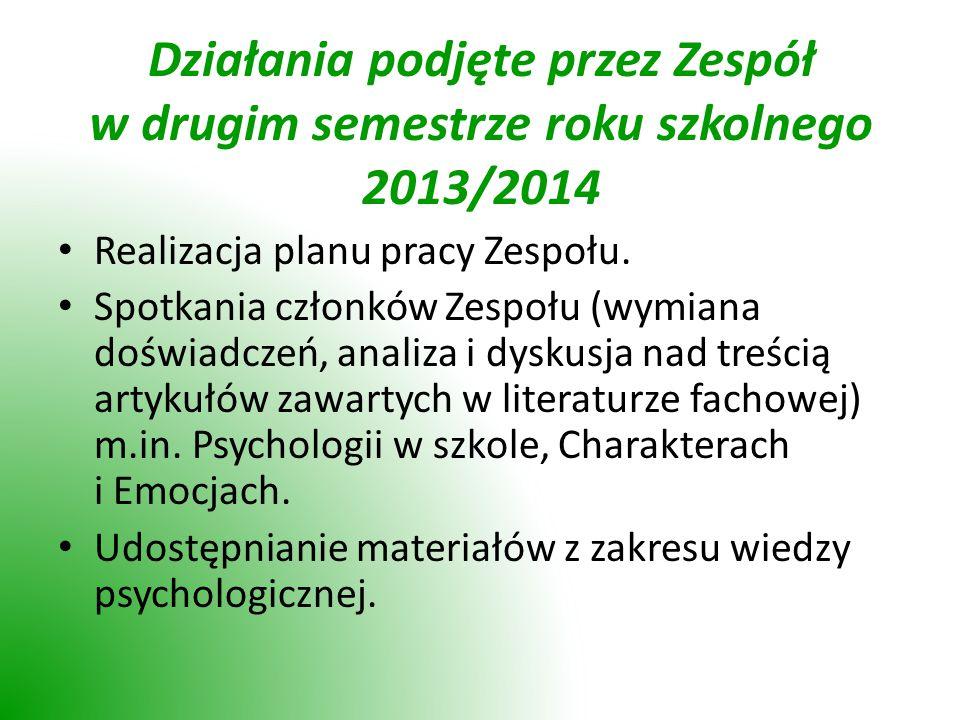 Działania podjęte przez Zespół w drugim semestrze roku szkolnego 2013/2014 Realizacja planu pracy Zespołu.