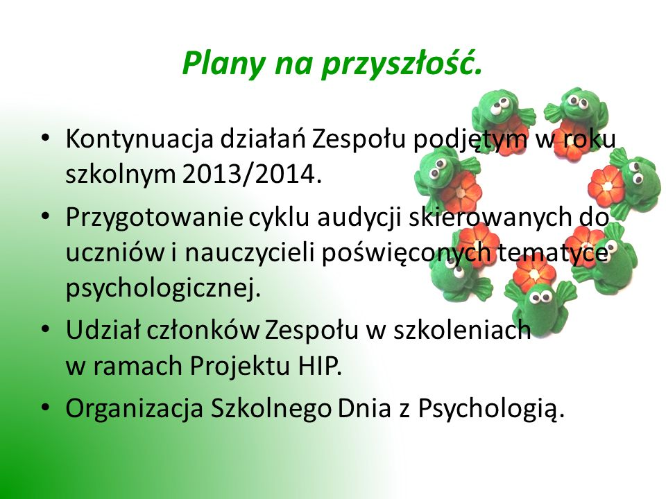 Plany na przyszłość.Kontynuacja działań Zespołu podjętym w roku szkolnym 2013/2014.