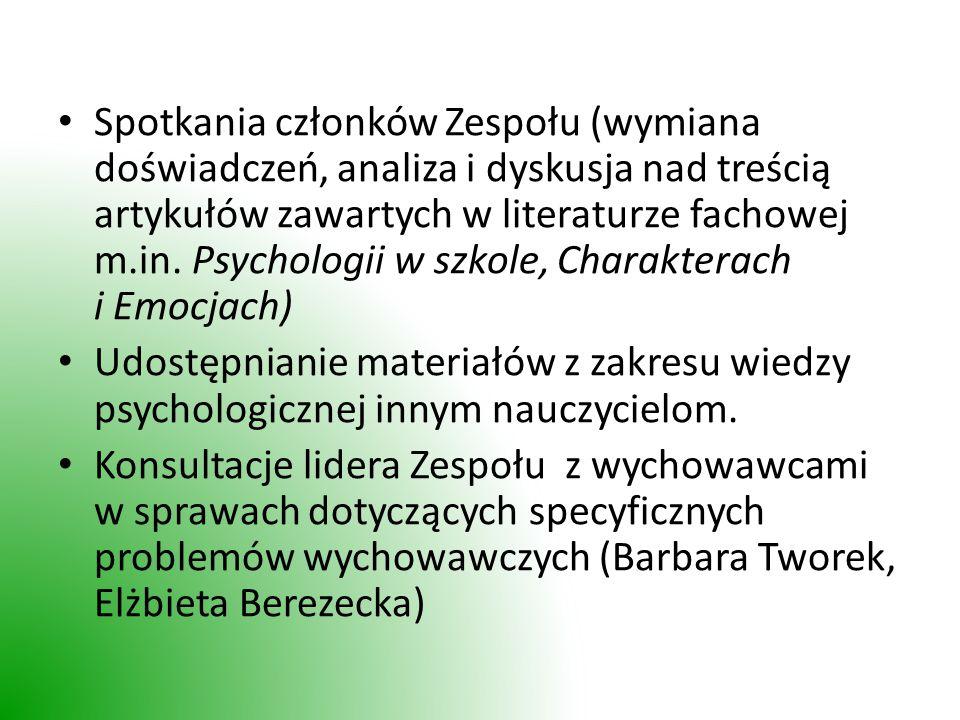 Spotkania członków Zespołu (wymiana doświadczeń, analiza i dyskusja nad treścią artykułów zawartych w literaturze fachowej m.in.