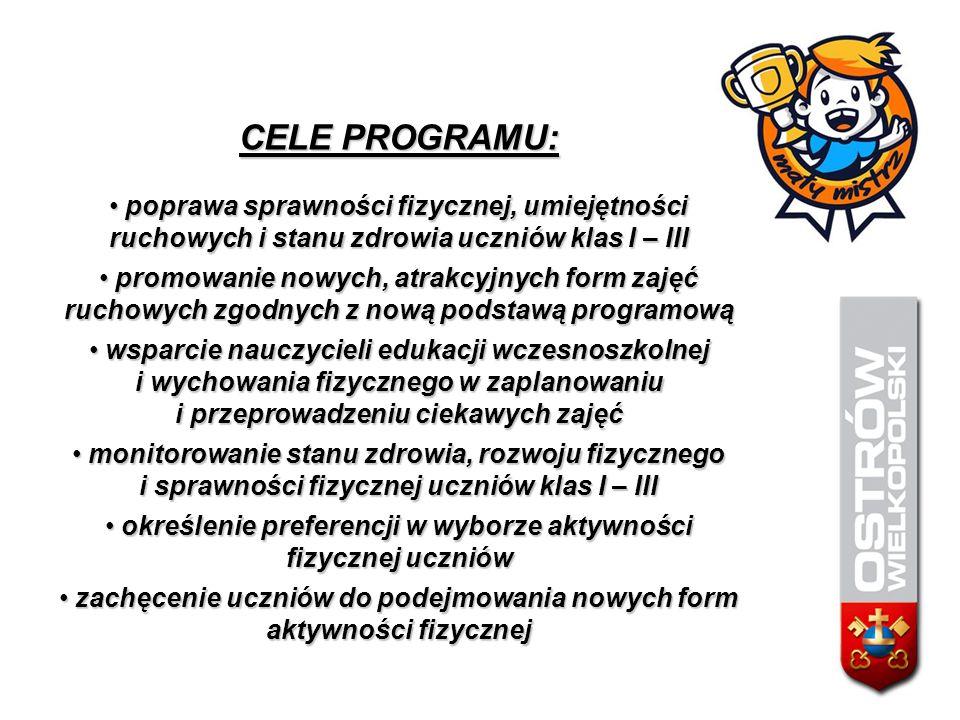 CELE PROGRAMU: poprawa sprawności fizycznej, umiejętności ruchowych i stanu zdrowia uczniów klas I – III poprawa sprawności fizycznej, umiejętności ru