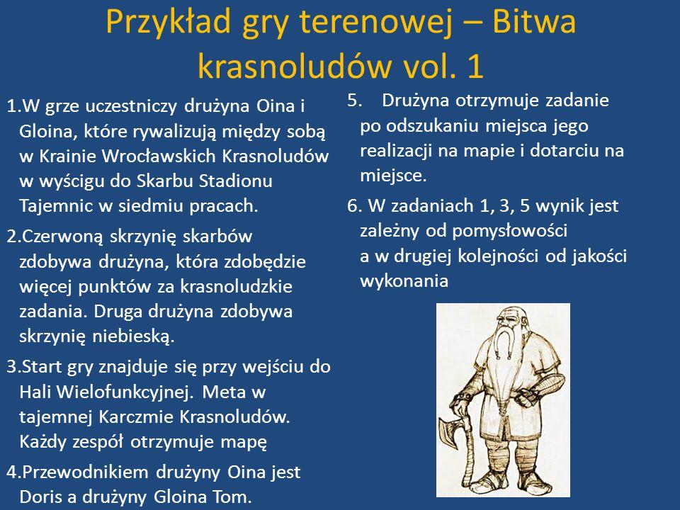 Przykład gry terenowej – Bitwa krasnoludów vol. 1 1.W grze uczestniczy drużyna Oina i Gloina, które rywalizują między sobą w Krainie Wrocławskich Kras