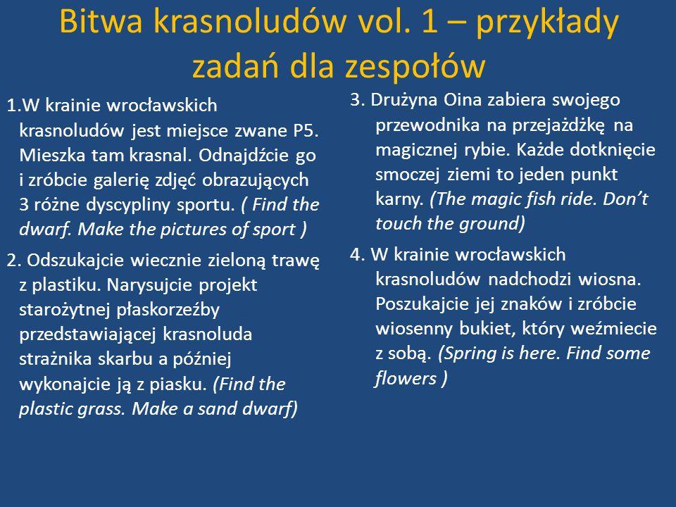 Bitwa krasnoludów vol. 1 – przykłady zadań dla zespołów 1.W krainie wrocławskich krasnoludów jest miejsce zwane P5. Mieszka tam krasnal. Odnajdźcie go