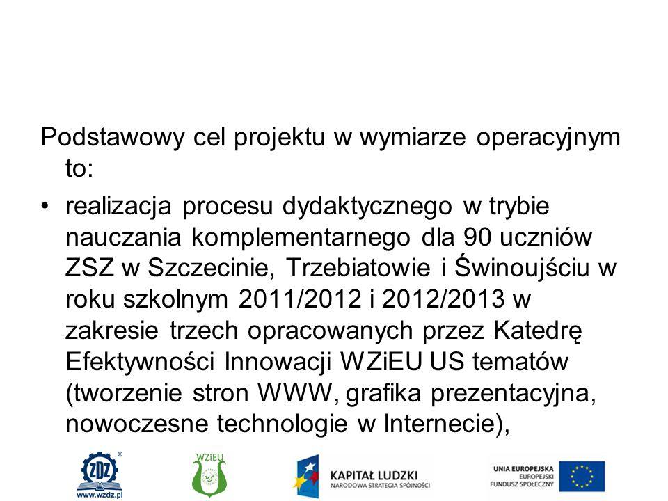 Podstawowy cel projektu w wymiarze operacyjnym to: realizacja procesu dydaktycznego w trybie nauczania komplementarnego dla 90 uczniów ZSZ w Szczecinie, Trzebiatowie i Świnoujściu w roku szkolnym 2011/2012 i 2012/2013 w zakresie trzech opracowanych przez Katedrę Efektywności Innowacji WZiEU US tematów (tworzenie stron WWW, grafika prezentacyjna, nowoczesne technologie w Internecie),