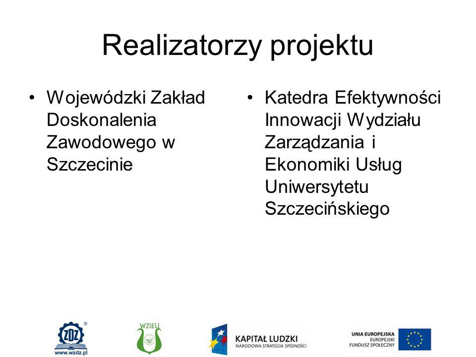 Realizatorzy projektu Wojewódzki Zakład Doskonalenia Zawodowego w Szczecinie Katedra Efektywności Innowacji Wydziału Zarządzania i Ekonomiki Usług Uniwersytetu Szczecińskiego