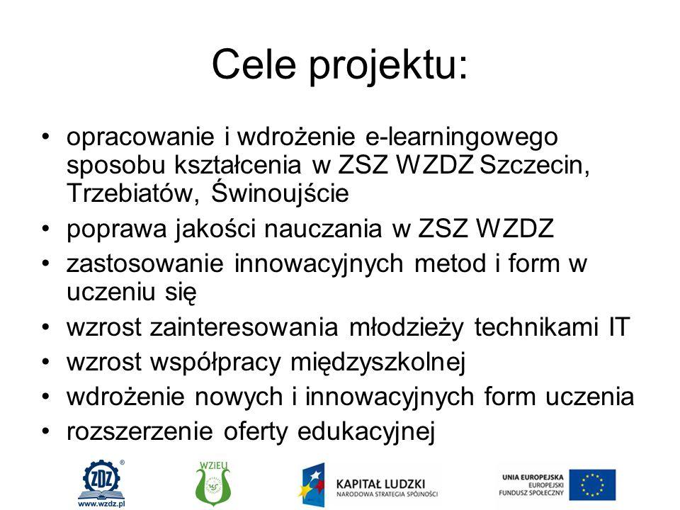 Cele projektu: opracowanie i wdrożenie e-learningowego sposobu kształcenia w ZSZ WZDZ Szczecin, Trzebiatów, Świnoujście poprawa jakości nauczania w ZSZ WZDZ zastosowanie innowacyjnych metod i form w uczeniu się wzrost zainteresowania młodzieży technikami IT wzrost współpracy międzyszkolnej wdrożenie nowych i innowacyjnych form uczenia rozszerzenie oferty edukacyjnej