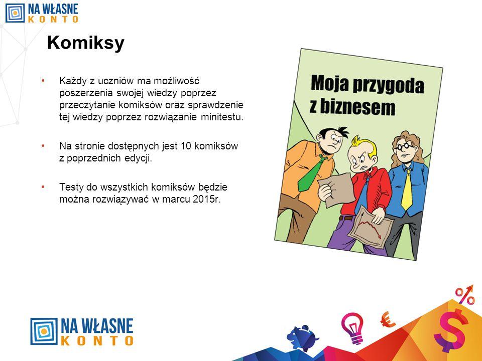 Komiksy Każdy z uczniów ma możliwość poszerzenia swojej wiedzy poprzez przeczytanie komiksów oraz sprawdzenie tej wiedzy poprzez rozwiązanie minitestu.