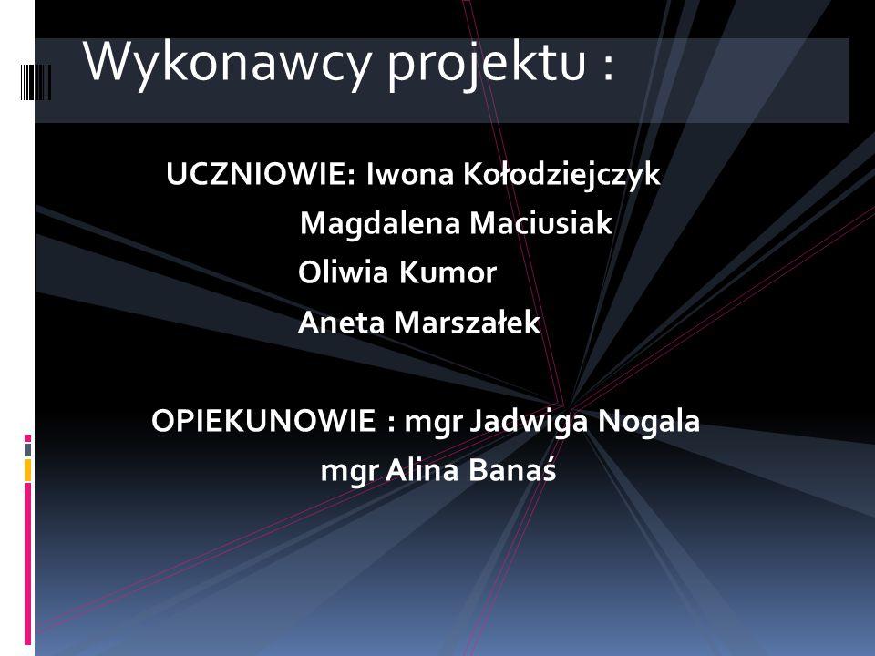 Wykonawcy projektu : UCZNIOWIE: Iwona Kołodziejczyk Magdalena Maciusiak Oliwia Kumor Aneta Marszałek OPIEKUNOWIE : mgr Jadwiga Nogala mgr Alina Banaś